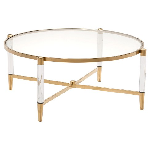 "Modern Lucite and Stainless Steel 40"" Round Coffee Table - Gold - ZM Home - image 1 of 1"