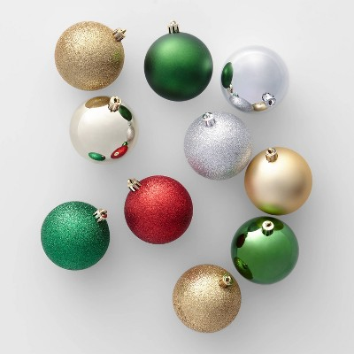 50ct 70mm Shatter Resistant Christmas Ornament Set Red Green Silver And Gold   Wondershop™ by Wondershop