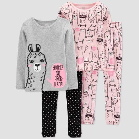 Baby Girls' 4pc Lama Pajama Set - Just One You® made by carter's Gray 9M - image 1 of 1