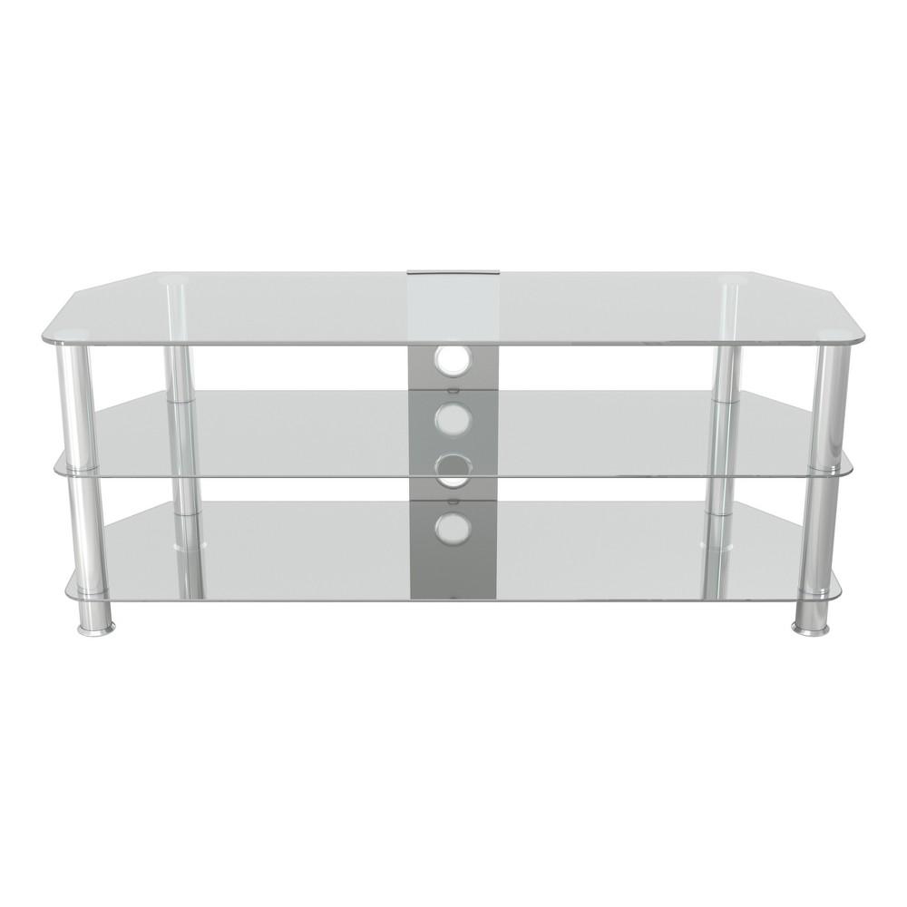 60 Classic Corner Glass TV Stand Chrome Effect/Clear Glass - Avf