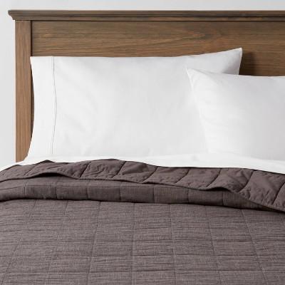 Full/Queen Space Dyed Cotton Linen Quilt Dark Gray - Threshold™