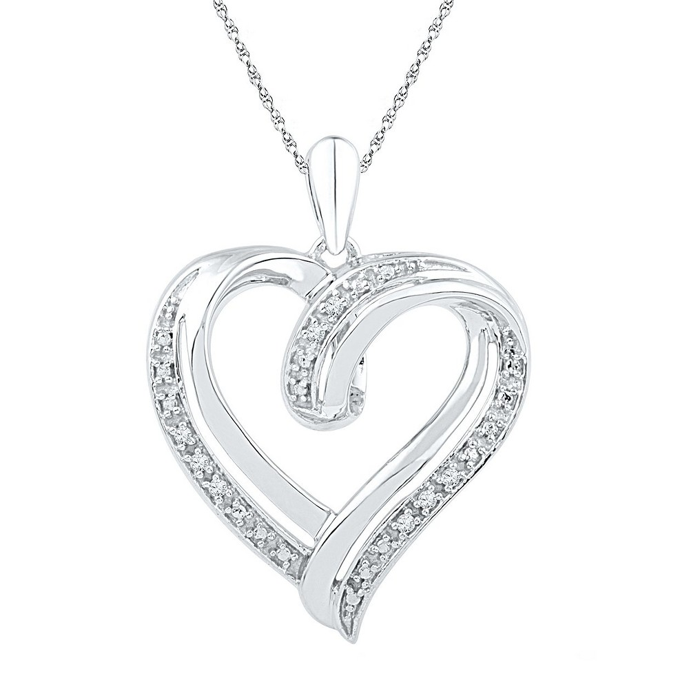 Image of 0.030 CT. T.W. Round White Diamond Prong Set Heart Pendant in Sterling Silver (IJ-I2-I3), Women's, Size: Small