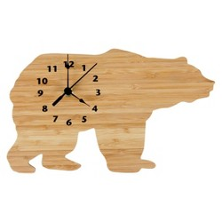 Northwoods Bear Wall Clock Bamboo Finish - Trend Lab