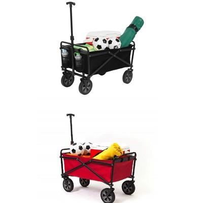 Seina Manual 150 Lbs. Heavy Duty Folding Utility Cart, Black/Grey & Red & Gray