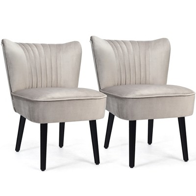 Costway Set of 2 Armless Accent Chair Upholstered Leisure Chair Single Sofa Turquoise\Stone Grey\ Dark Grey