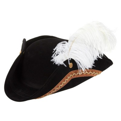 Juvale Black Colonial Revolutionary War Theme Tricorn Pirate Hat, Adult Cosplay Party Halloween Costume