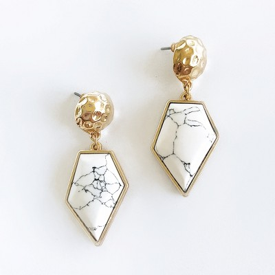 Sanctuary Project Diamond Shaped Semi Precious White Howlite Drop Earrings Gold