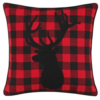 Red Cabin Plaid Stag Head Throw Pillow - Eddie Bauer