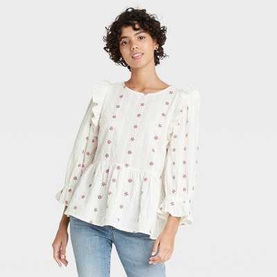Women's Puff 3/4 Sleeve Embroidered Ruffle Top - Universal Thread™