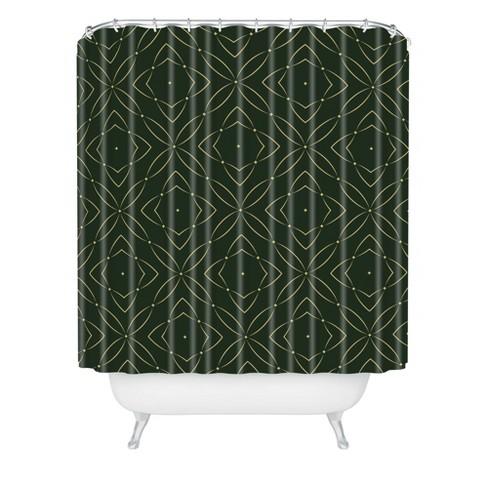 Vintage Pattern Shower Curtain Green