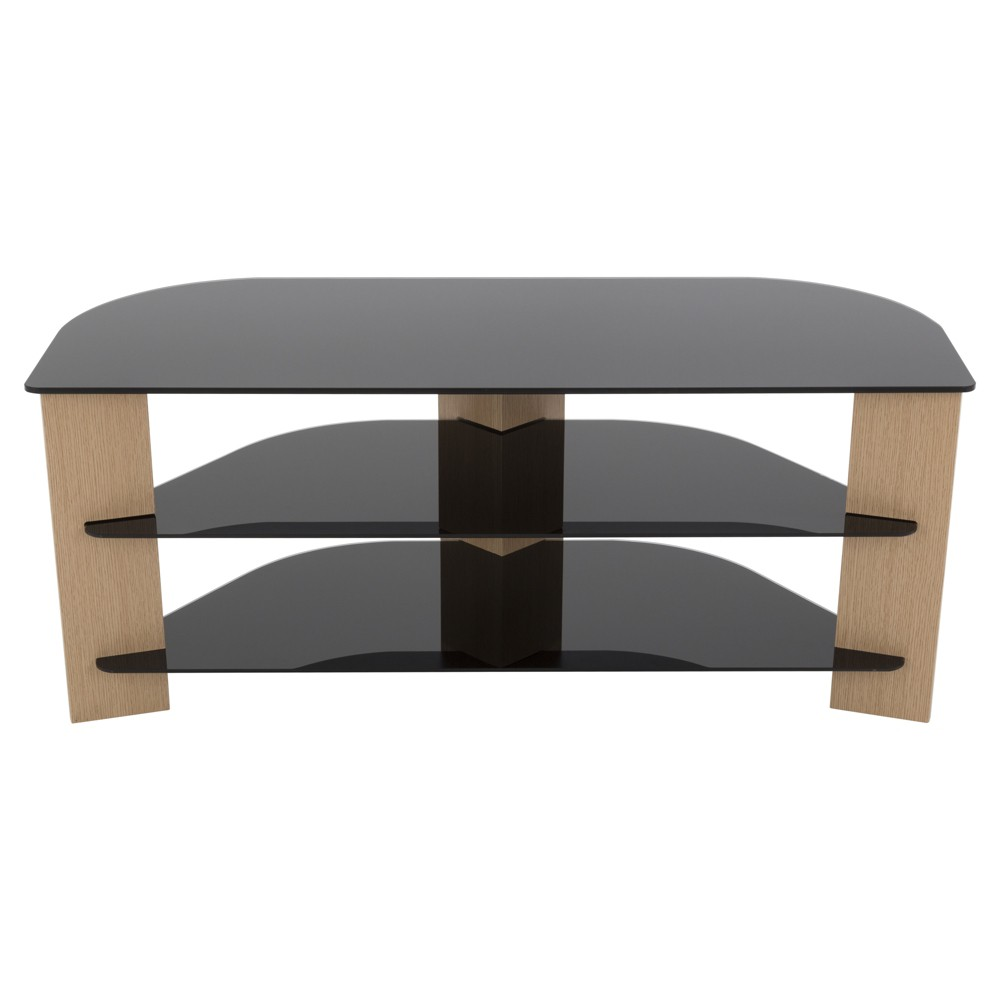 "Image of ""55"""" TV Stand with Glass Shelves - Oak/Black, Brown"""