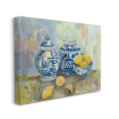 Stupell Industries Lemons and Pottery Yellow Blue Classical Painting
