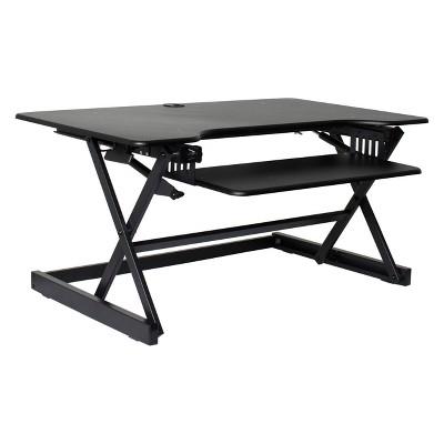 "38"" Large Height Adjustable Standing Desk Converter Black - Rocelco"