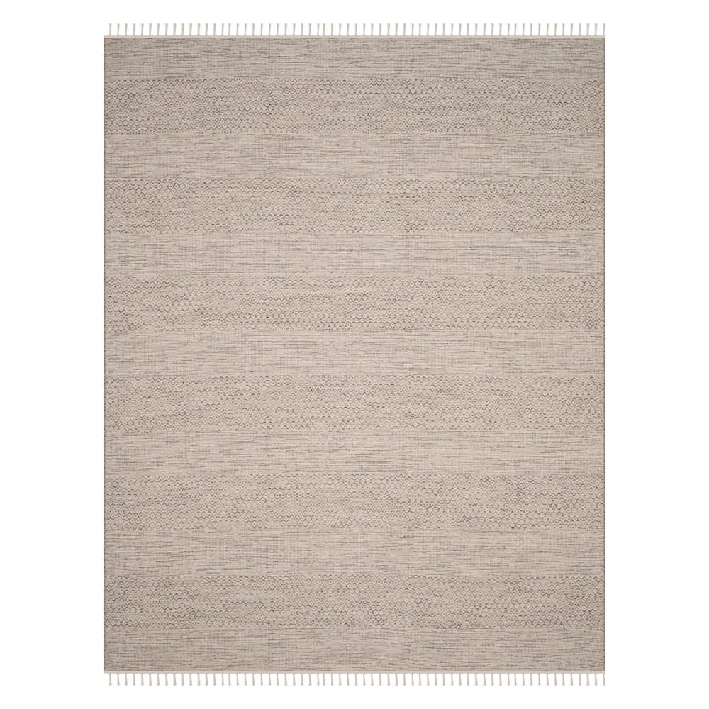 Stripe Woven Area Rug Ivory/Steel Gray