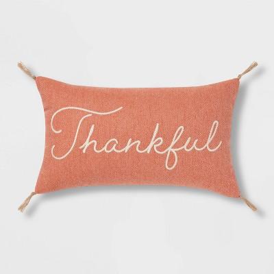 Tweed Embroidered 'Thankful' Lumbar Throw Pillow - Threshold™