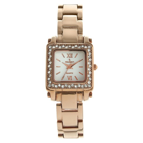 Women's Peugeot Crystal and White Dial Watch with crystals from Swarovski - Rose Gold - image 1 of 4