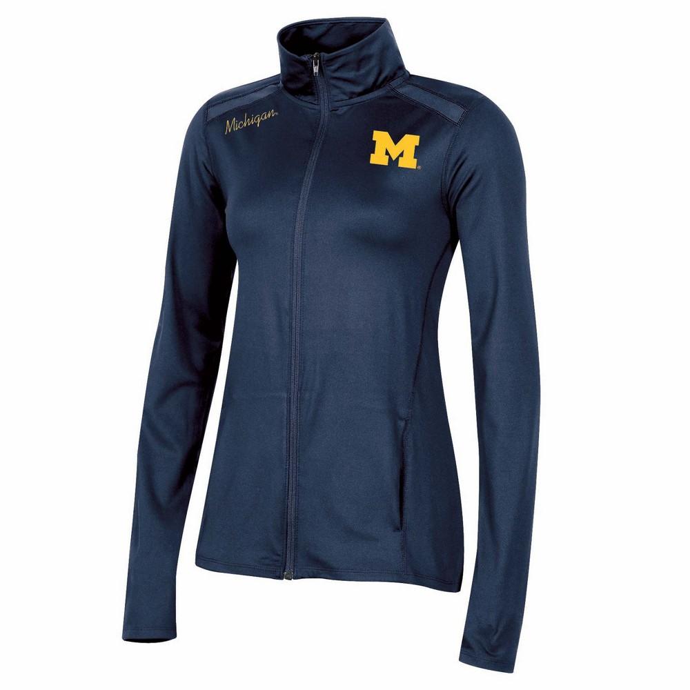 NCAA Women's Black Full Zip Lightweight Overcoat Jacket Michigan Wolverines - L, Multicolored