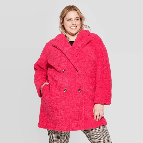 Women's Plus Size Long Sleeve Double Breasted Faux Fur Jacket - Who What Wear™ Pink - image 1 of 3