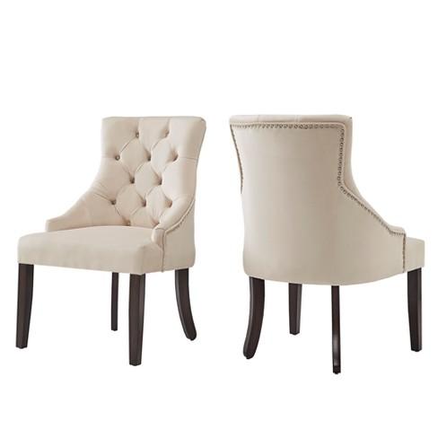 Lawler Velvet Button Tufted Dining Chair Set Of 2 Beige Inspire Q