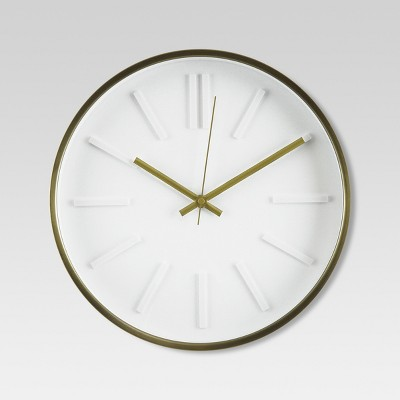Raised Marker 13  Wall Clock White/Brass - Project 62™