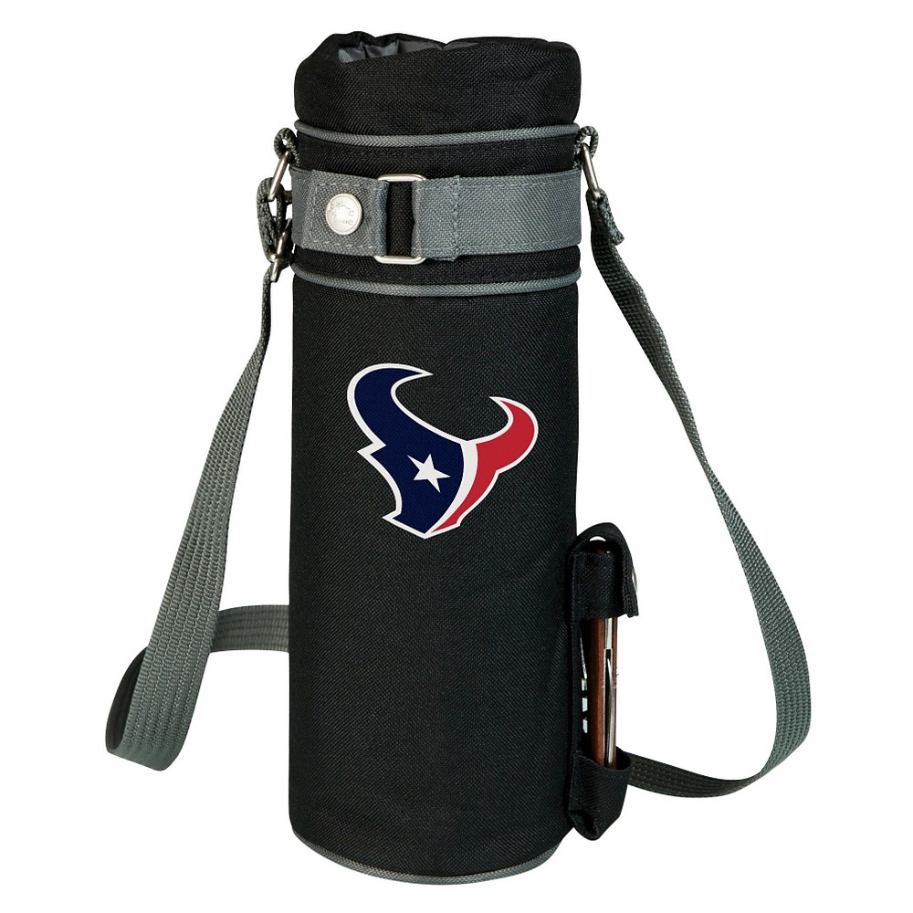 Houston Texans - Wine Sack Beverage Tote by Picnic Time (Black) Those who enjoy wine will appreciate the style and simplicity of the Wine Sack, an insulated single-bottle tote with an adjustable shoulder strap. It features a stainless steel waiter-style corkscrew conveniently stored in its own secure pocket. The Wine Sack is made of polyester canvas with complementing brown trim. The tote is fully-insulated to keep your wine at the perfect temperature until you're ready to uncork it. Perfect for any occasion. When you'd like to bring your own wine to share, let the Wine Sack help you take it there! Color: Houston Texans.