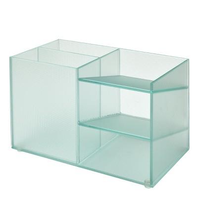 """Design Ideas Vinestra Desk Supplies Organizer – Striated Glass Office Desktop Organizer – Clear, 6.8"""" x 3.4"""" x 3.9"""""""