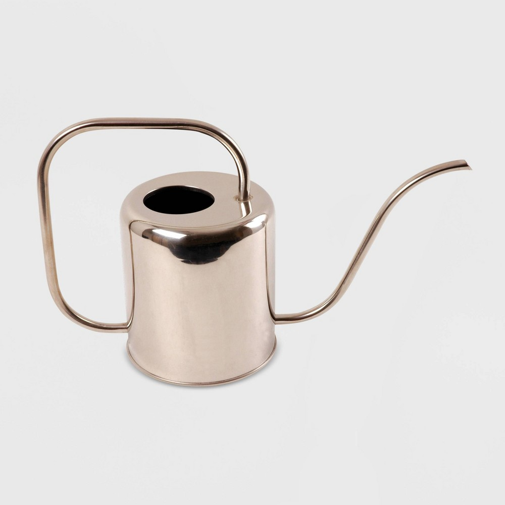 "Image of ""10"""" Modern Style Steel Watering Can Chrome - Esschert Design, Silver"""