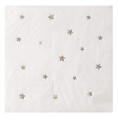 "Juvale 50-Pack Silver Glitter Star Disposable Paper Napkins 6.5"" White Party Supplies"