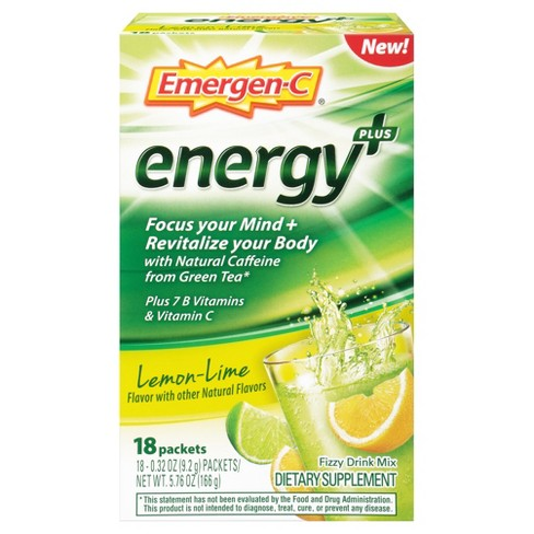 Emergen-C Energy Dietary Supplement Drink Mix - Lemon Lime - 18ct - image 1 of 6