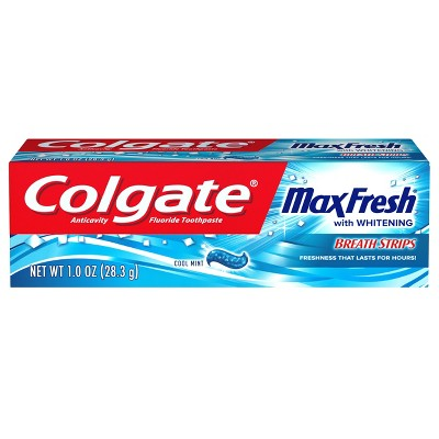 Colgate Max Fresh Whitening Toothpaste with Mini Breath Strips - Trial Size - 1oz