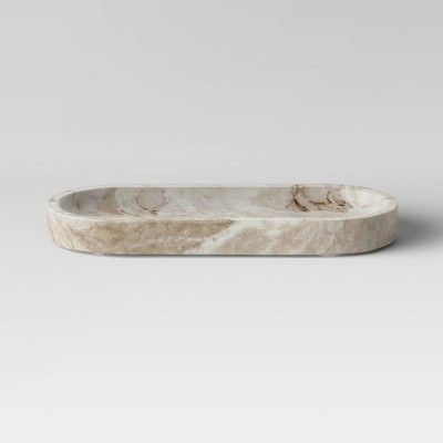 "6"" x 1.25"" Toronto Oblong Marble Tray White/Beige - Project 62™"