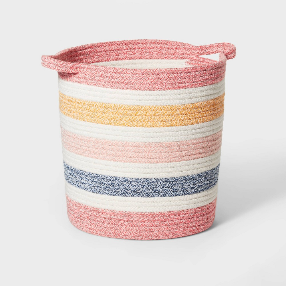 Medium Multi Stripe Coiled Rope Storage Bin Pillowfort 8482