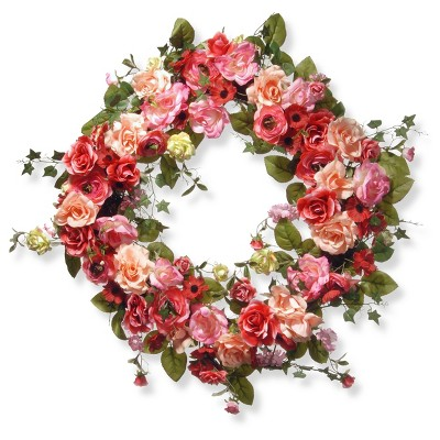 """Artificial Spring Wreath Pink 32"""" - National Tree Company"""