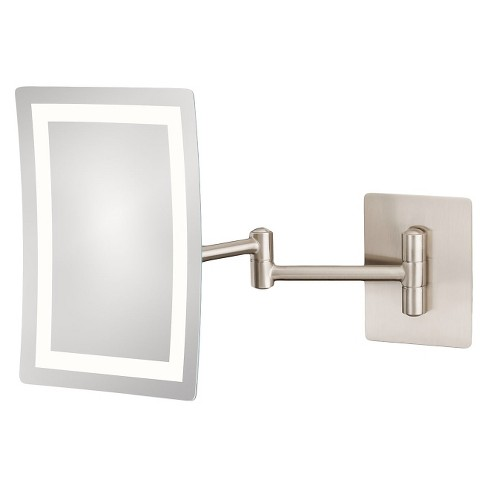 Rectangular Single Sided Led Lighted Wall Magnified Makeup Bathroom