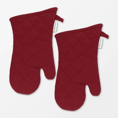 Set of 2 Cotton Herringbone Mitt Red - MU Kitchen