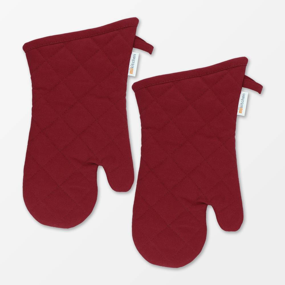 "Image of ""13"""" 2pk Oven Mitt Maroon - MU Kitchen"""