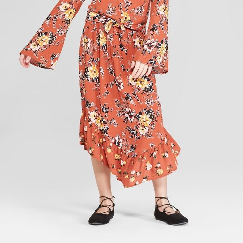 Girls' Floral Printed Midi Skirt - art class™ Red - image 1 of 3