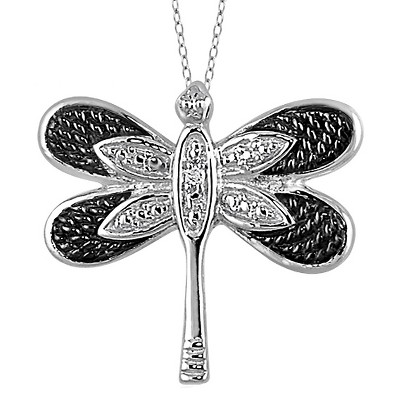 "Women's Sterling Silver Accent Round-Cut White Diamond Pave Set Butterfly Pendant - White (18"")"