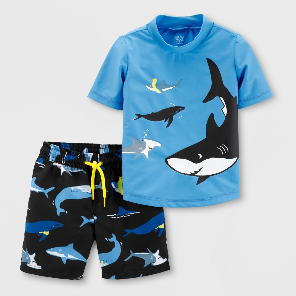 Baby Boys' 2pc Sharks Rash Guard Set - Just One You made by carter's Blue 6M