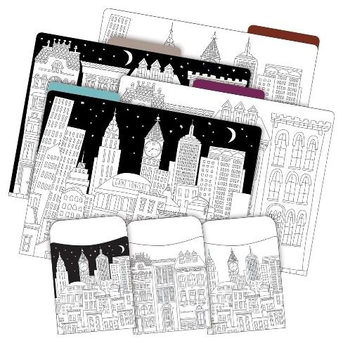 Barker Creek 12 Letter-Size File Folders & 30 Adhesive Pockets Set - Color Me! Cityscapes - image 1 of 4