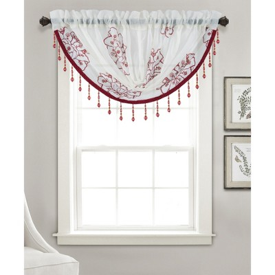 """Ramallah Trading Bergen Floral High Quality Embroidered Size - 47""""x37"""", Swag Valance"""
