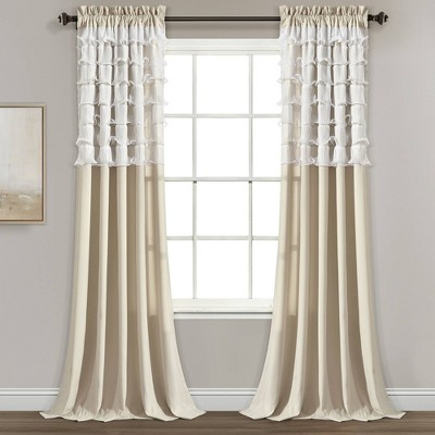 "Set of 2 (84""x54"")Avery Light Filtering Window Curtain Panels Beige - Lush Décor"