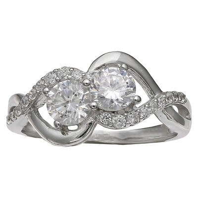 Women's Double Cubic Zirconia Ring with Crossover Band in Sterling Silver - Silver/Clear