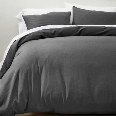 Full/Queen Cashmere Blend Duvet Cover & Sham Set Dark Gray - Casaluna™