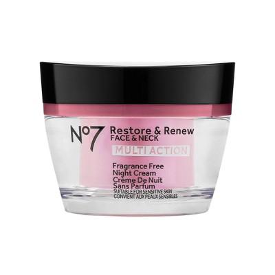 No7 Restore & Renew Face & Neck Multi Action Fragrance Free Night Cream - 1.69 fl oz