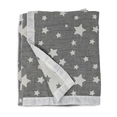 Living Textiles Baby Cotton Muslin Jacquard Blanket - Gray Star