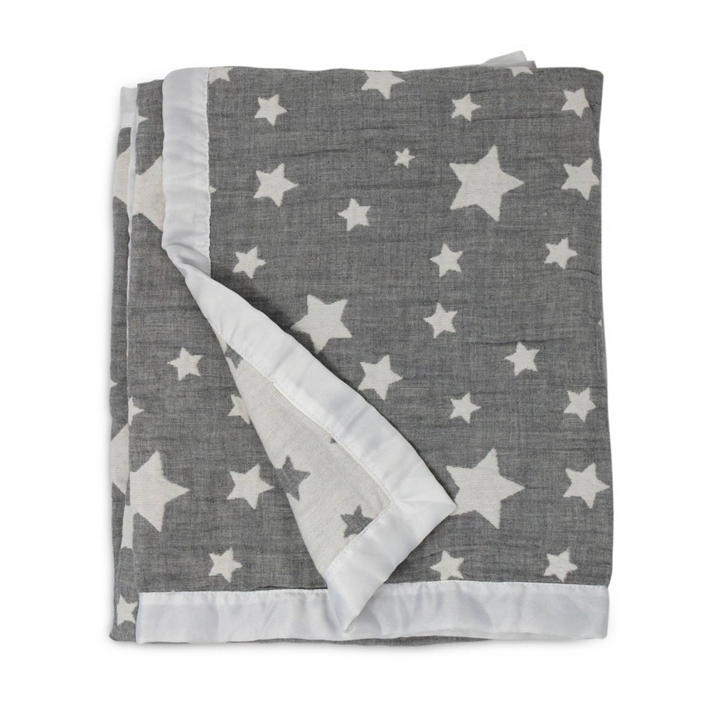 Image of Living Textiles Baby Cotton Muslin Jacquard Blanket - Gray Star