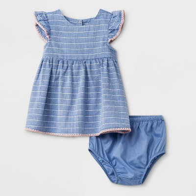Baby Girls' Cap Sleeve A Line Dress - Cat & Jack™ Blue 3-6M