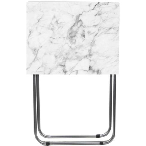 Home Basics Marble Multi-Purpose Foldable Table, Grey/White - image 1 of 4