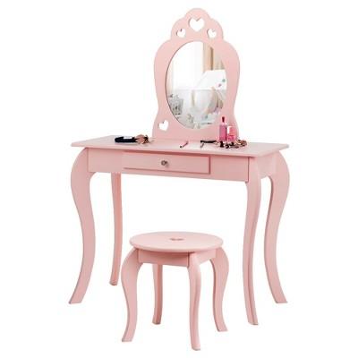Costway Kids Vanity Set Princess Makeup Dressing Play Table Set W/Mirror